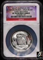 2012-P $1 Silver Australia Kookaburra High Relief NGC PF 70 UC Early Releases