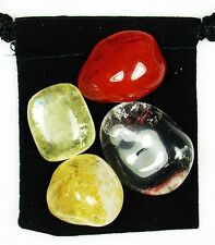 ETHERIC ENERGY BOOST Tumbled Crystal Healing Set = 4 Stones + Pouch + Card