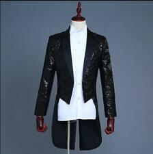 Stylish Mens Tuxedo Bling Sequins Blazer Jacket Formal Dress Club Tailed Coat SZ
