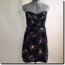 Urban Outfitters - Kimchi Blue - Black Floral Sweetheart Strapless Dress L
