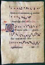 ANTIPHONAR (I) grosses Pergamentblatt 1450 farbige Initiale sehr gut erhalten
