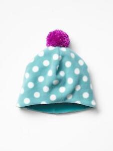 New Gap Toddler Girl Polka Dot Turquoise Blue Fleece Contrast Pom Pom Beanie S/M