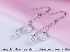earrings jewellery drop present gift Ladies 925 double silver ball Rhinestone