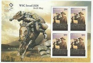 2008 MINI SHEET 'AUSTRALIAN LIGHT HORSE' OVERPRINT WSC ISRAEL 2008 - BLOCK 50c