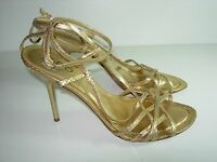 WOMENS GOLD STRAPPY LEATHER SANDALS WEDDING STILETTO HEELS SHOES SIZE 40 9 M