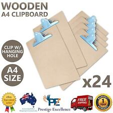 NEW 24x Wooden A4 Clipboard Hardboard Paper Clip Organiser Holder Writing Board