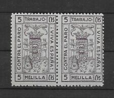 L2743 SPAIN ESPAÑA CIVIL WAR CINDERELLA MELILLA CONTRA EL PARO 5CTS PAIR