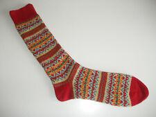 🇬🇧 NEW Traditional Mens MERINO WOOL Fairisle Socks 6-11 Claret Red/Mint Green