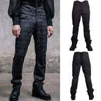 Devil Fashion PT010 Mens Elegant Gothic Victorian Brocade Black Trousers Pants
