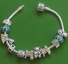 """7.5"""" SOLID 925 SILVER EURO BRACELET HAVING A BABY CHARMS & STOPPERS COOL!"""