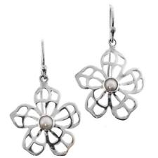 "13/16"" FLOWER FILIGREE FRESHWATER PEARL 925 STERLING SILVER earrings"