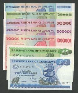 ZIMBABWE $100 trillion billion million Select All Uncirculated  Banknotes