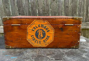 Roller Skate Case w/Roller Skates Columbus Circle Rink NYC Wood Case Vintage