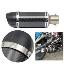 51mm Motorcycle Compact Exhaust Pipe Muffler Retrofit Gloss Black Carbon Fiber