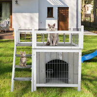 2-Story Outdoor Weatherproof-Wooden Cat House Condo Shelter With Ladder Gray.