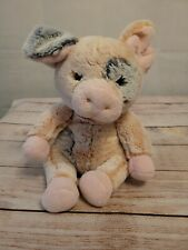 People Pals Pig Plush Pink Sitting Gray Spotted  Floppy Stuffed  Animal Soft Toy