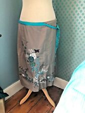 Stunning taupe and turquoise cotton skirt White stuff size 14