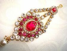 Pink Kundan Hijab Matha Patti Tikka Head Piece Bridal Party Costume Jewellery