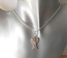Angel wing necklace crossed wings Tibetan Silver