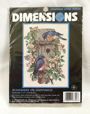 Dimensions Counted Cross Stitch Kit Bluebirds of Happiness #6700 VTG 1996 NIP