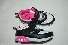 Toddler Girls Athletic Shoes BLACK WHITE PINK DANSKIN NOW Easy Fasten SIZE 10