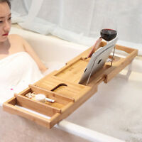 Adjustable Fashion Convenient Wooden Bamboo Bathtub Bridge Tub Caddy Tray Rack