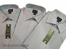 3 Jos A. Bank Traveler Dress Shirts 17x36, Blue, Two-ply fine 100% Cotton