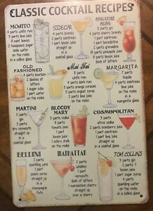 "~Classic Cocktail Recipes ~ 8"" x 12"" METAL SIGN ~Bar Pub Old Fashion Martini"