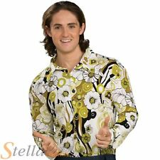 Mens Groovy Shirt 60s 70s Floral Disco Hippy Fancy Dress Costume Rubies