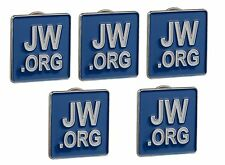 JW.ORG LAPEL PINS SQUARE BUTTERFLY BACK BLUE TIE PINS SET OF 5
