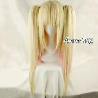 Pink Mixed Light Blonde Long Straight Lolita Women Cosplay Anime Hair Full Wig