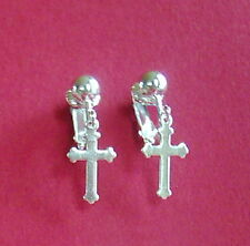 LITTLE SILVER PLATED CROSS - CLIP-ON EARRINGS  (hook options)