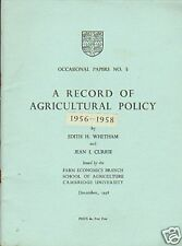RECORD OF AGRICULTURAL POLICY .1956-8. CAMBRIDGE UNI