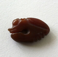 Chinese Hongshan Carved Brown Jade Insect Figure Netsuke Pendant Amulet