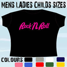 ROCK AND N ROLL WRITING COOL FUNKY MUSIC T-SHIRT