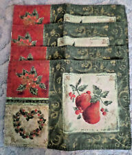 LOT OF 4 RECTANGLE MULTI-COLORED GREEN/RED FRUIT PLACE MATS