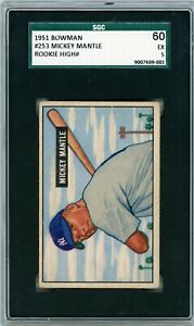 1951 Bowman Mickey Mantle Rookie #253 SGC 60 P890