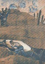 K1109 Esplosione mina sotto trincea tedesca - Stampa d'epoca - 1915 Old print