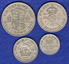 GB, George VI, 1948 Coin Set, Halfcrown - Sixpence, 4 Coins, 70th Birthday Gift