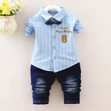 Kids Baby Boy Boys Party Wedding Clothes Clothing Suits Outfits Sets Shirt+Jeans