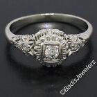 Antique Art Deco 18k White Gold 0.16ctw European Diamond Solitaire Filigree Ring