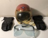 Vintage Buco International Motorcycle Helmet Sz 3 w/ Extra Visor , Gloves