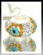 Stunning Rhinestone Glass Bead Charm fit European Bracelet Chain Necklace