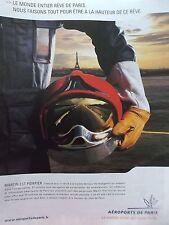 PUBLICITE    POMPIER  AEROPORTS DE PARIS    REF 7555