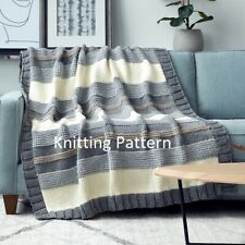 (850) Blanket Throw COPY Knitting Pattern, Stripe Design in Chunky yarn