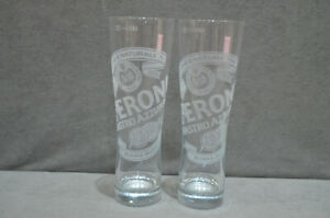 2x Peroni Nastro Azzurro Birra Superiore Italy One Pint To Line 20oz Glass M14