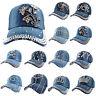 Unisex Women Studded Rhinestone Adjustable Summer Denim Hat Baseball Cap Tennis