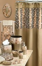 MOSAIC STONE FABRIC SHOWER CURTAIN  Bronze / Gold