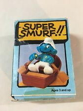 MINT Smurfs Rowboat Super Smurf Vintage Figure Toy 80s PVC Schleich  6729