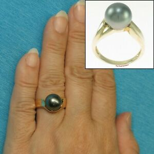 10.2mm Genuine Black Tahitian Pearl 14k Solid Yellow Gold Solitaire Ring TPJ